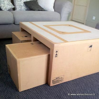 Nouveau patron la table basse en carton hoxane - Patron meuble en carton gratuit ...