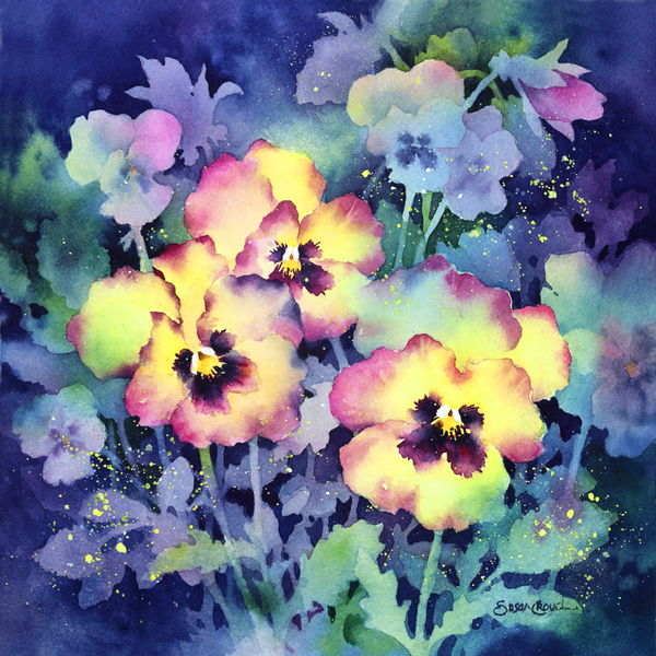 Resilience watercolor of poppies