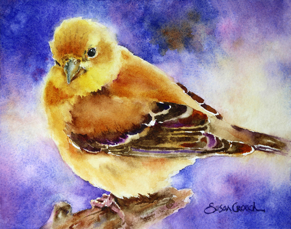 Waiting for Spring watercolor gold finch