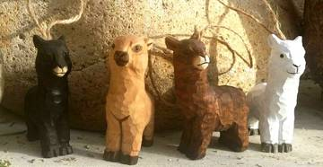 wooden alpaca ornaments