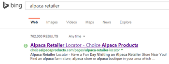 alpaca retailer on BING search engine