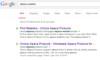 alpaca retailer on the map