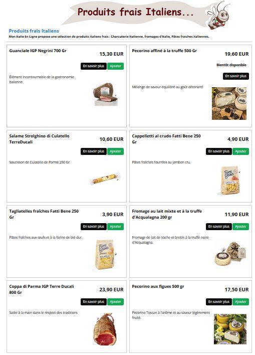 produits frais italiens