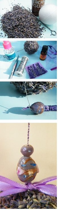 making dried lavender pomander