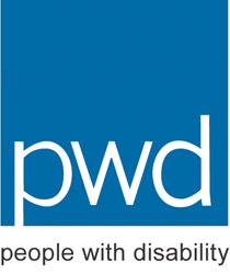 PWDA Logo: White PWD letters on a blue background