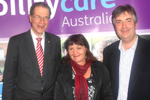 Bruce Bonyhady AM, (DisabilityCare Australia Board Chair), Heidi Forrest (Vice-President of People with Disability Australia) and Shaun McCarthy (Director of Newcastle Legal Centre) at the DisabilityCare conference.