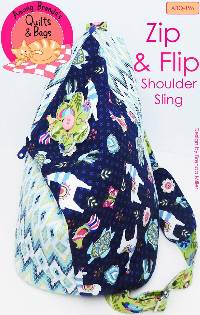 Zip & Flip Shoulder Sling Purse Pattern by Among Brenda's Quilts & Bags