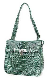 Croc Embossed Shoulder Bag in Green