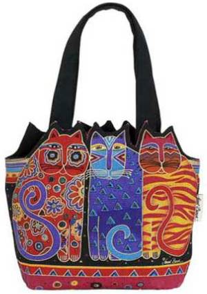 Tres Gatos Medium Tote by Laurel Burch