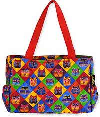 Diamond Cat Masks Medium Tote Bag by Laurel Burch