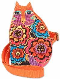 Feline Family Cut Out Crossbody Bag (Orange) by Laurel Burch