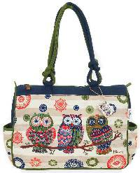 Groovy Owls Medium Tote with artwork by Paul Brent