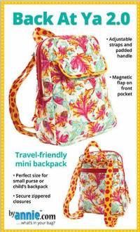 Back At Ya 2.0 Mini Backpack Purse Pattern by Annie