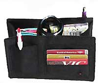 Black Sateen Fabric Purse Organizer