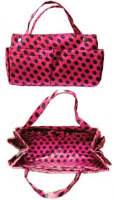 Purse Organizer Pink with Black Polkadots