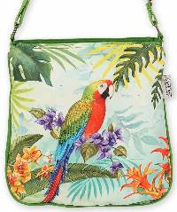 Crossbody Bag with Parrot, an artistic design by Sandy Clough