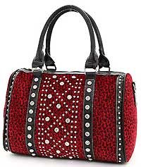 Leopard Pattern Studded Accent Satchel in Red