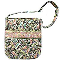 Paisley Quilted Crossbody Bag in Black
