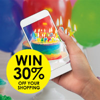 Simply share a photo of your celebration cake baking for a chance to win 30% off your shopping at Real Foods