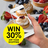 Simply share a photo of your latest patisserie creation for a chance to win 30% off your shopping at Real Foods