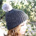 100% Alpaca Pom-Pom Channel Beanie Hat