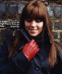 red leather alpaca gloves