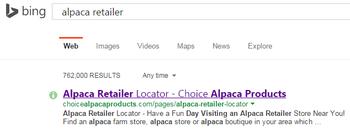 alpaca retailer on BING search engine