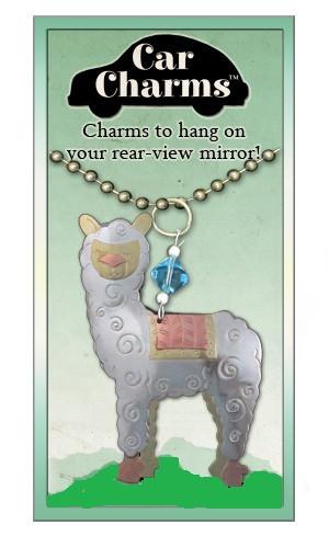 whimsical alpaca car charm
