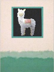 whimsical alpaca pin card