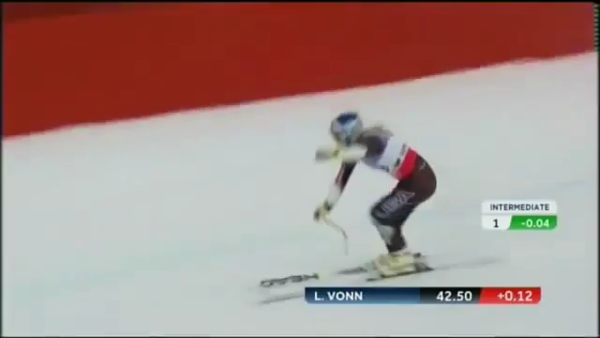 ACL #7 as the Rt. ski rolls so does the knee. The top of the ski becomes visible