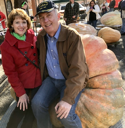 Innkeepers check out the giant pumpkins in Colorado Springs