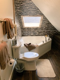 The newly remodeled Goldfield suite bath with Bubbl-Jet Tub for Two