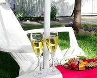 The Holden House Secret Garden is a favorite place to enjoy our daily afternoon wine social