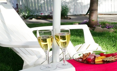 The back garden at Holden House offers privacy and a place to enjoy our complimentary wine social