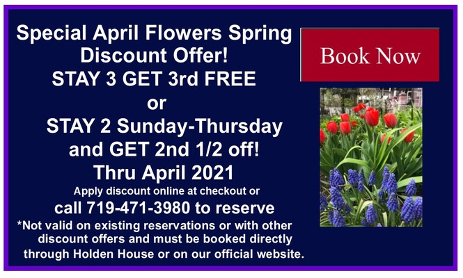 Special Spring Discount at Holden House through April 2021