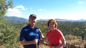 Innkeepers Sallie and Welling Clark enjoy hiking in Mueller State Park to see the colorful Colorado aspen in the fall
