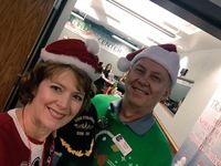 Innkeepers Sallie and Welling Clark volunteered in a past Santa Tracker event