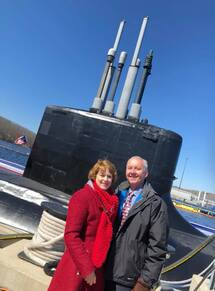 Holden House innkeepers Welling and Sallie Clark attended the USS Colorado commissioning