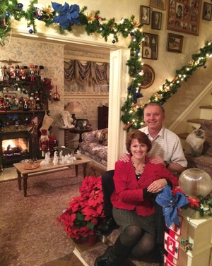 Innkeepers Sallie and Welling Clark offer a holiday greeting for guests at Holden House in Colorado Springs