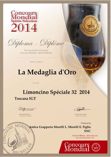 Medaille d'or 2014 Limoncino 32°