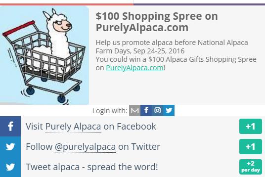 Visit an alpaca farm $100 shopping spree