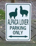 Alpaca Lovers Parking Sign