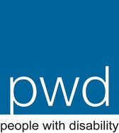Logo of People with Disability Australia. Blue square with pwd in white text, with people with disability in black text underneath.