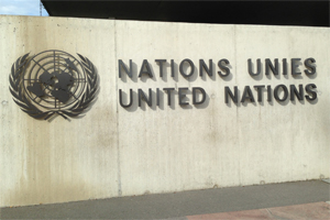 Image: photograph of United Nations sign in Geneva