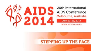 IMAGE: The orange AIDS2014 logo - titled Stepping Up The Pace