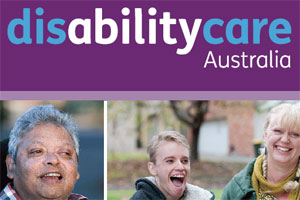 DisabilityCare Australia logo and images of adults