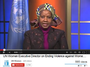 Youtube image of UN Women Executive Director for International Day for the Elimination of Violence against Women, Ms. Phumzile Mlambo-Ngcuka calling on the international community to be