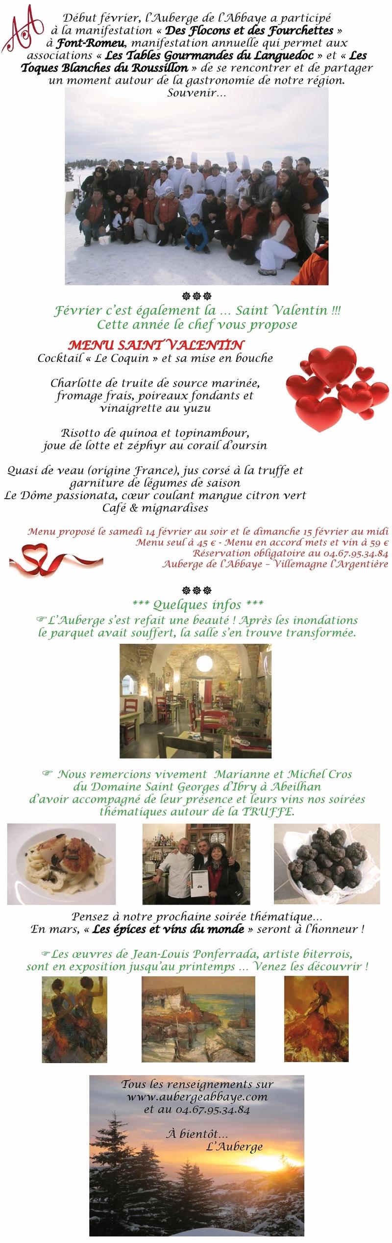 newsletter auberge de l'abbaye
