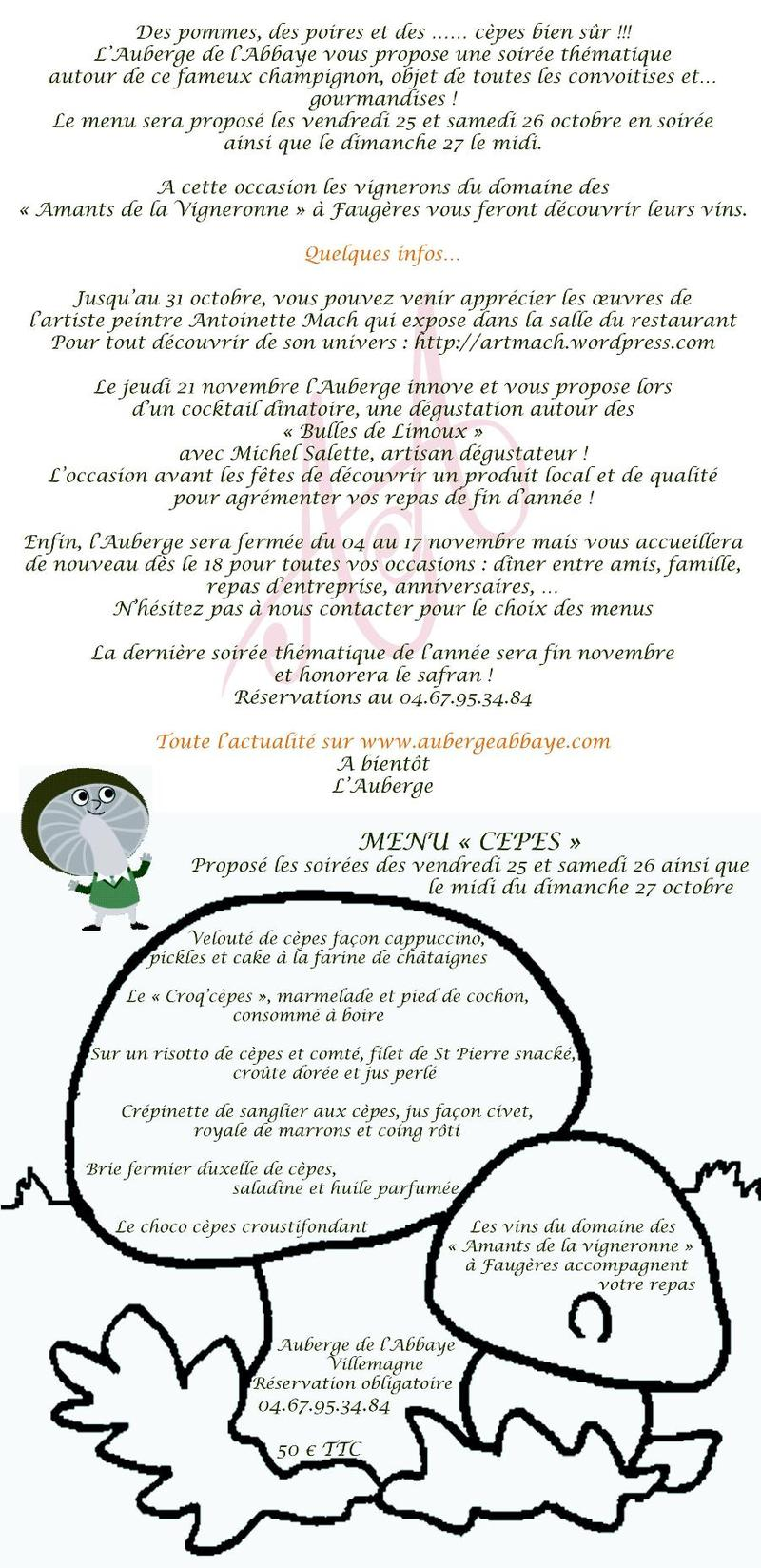 Auberge de l'Abbaye - newsletter octobre