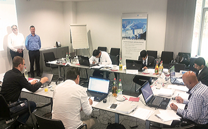 Gary Harman with ESG's Herbert Klein at ESG's HQ in Munich